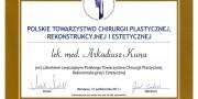 dr Arkadiusz Kuna - Certyfikaty - Beauty Group - Artplastica