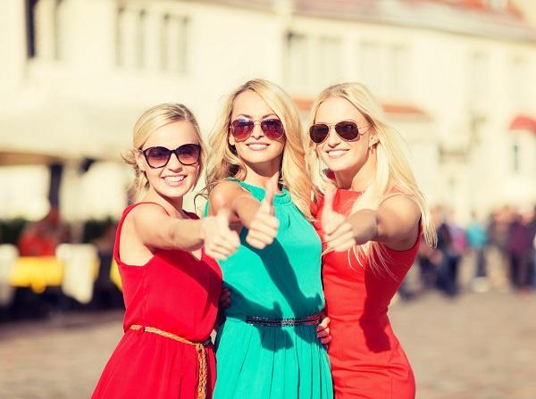 three beautiful women in the city