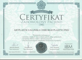 Certyfikat Zadowolony Pacjent - Artplastica Klinika Chirurgii Plastycznej