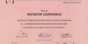 Certyfikat - dr Krzysztof Czopkiewicz