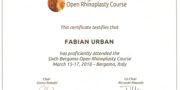 Certyfikat - dr Fabian Urban - Bergamo 2018